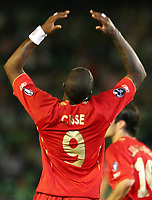 Liverpool's Djibril Cisse reacts after missing a goal ocassion during their Champions League match in Ruiz de Lopera stadium in Seville, Spain, Tuesday 13 September, 2005. (Photo / Alvaro Hernandez)
