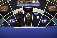 Ex-World Number 1 Professional Darts Player and Sky Sports darts analyst Rod Harrington doing a pre-session interview  beforethe World Championship Darts 2018 at Alexandra Palace, London, United Kingdom on 17 December 2018.