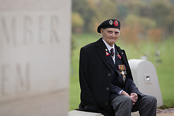 Les Cherrington, a 99 year old veteran of World War II nicknamed Òthe luckiest man in the desertÓ before the Armistice Day service at the War Memorial Arboretum, in Staffordshire.