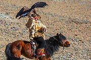 Portrait of Kazakh eagle hunter on horseback with his golden eagle (Aquila chrysaetos), Altai Mountains, Bayan Ulgii, Mongolia