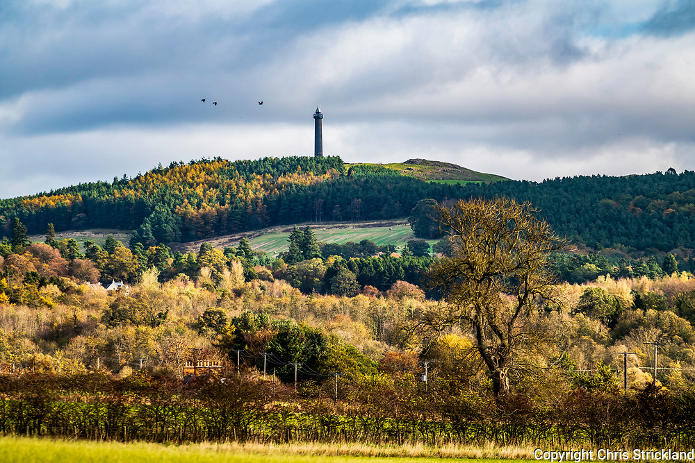 Ancrum, Jedburgh, Scottish Borders, UK. 24th October 2018. The Waterloo Monument, a Borders landmark on the hill Peniel Heugh near Ancrum, stands proud amongst autumn colours. The 150ft Doric column was built by the 6th Marquis of Lothian in 1817 to commemorate the Duke of Wellington's victory over Napoleon.