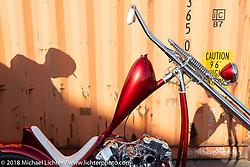 "Hawke Lawshe's Vintage Technologies 1946 Harley-Davidson ""Hades"" Knucklehead chopper at the docks on setup day for the 27th Annual Mooneyes Yokohama Hot Rod Custom Show 2018. Yokohama, Japan. Saturday, December 1, 2018. Photography ©2018 Michael Lichter."