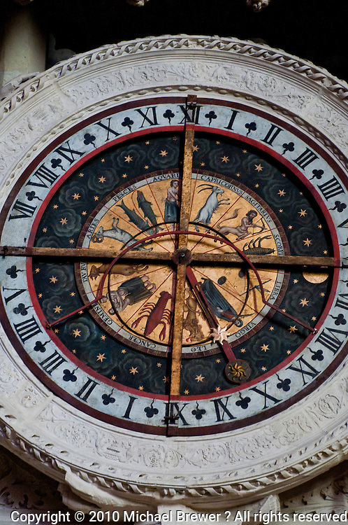 Our Lady of Chartres Cathedral, Chartres, France. Close-up of the ornate, gilded astrological clock.