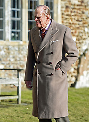 The Duke of Edinburgh attending St Peter and Paul Church in West Newton, Norfolk, for a Sunday morning service.