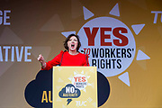 Francis O'Grady speaking to the crowds at the TUC No to Austerity demo outside the Conservative party conference, Manchester. 4th October 2015