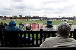 Spectators watch the first day of Leicestershire's County Championship match against Essex at Grace Road, Leicester.