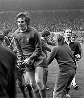 Ray Clemence (Liverpool) celebrates at the final whistle. Everton v Liverpool. FA Cup Semi final @ Old Trafford. 27/3/71. Credit : Colorsport.