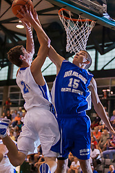 25 June 2011: Michael Murray challenged by Brad Hamilton at the 2011 IBCA (Illinois Basketball Coaches Association) boys all star games.