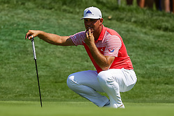 August 10, 2018 - St. Louis, MO, U.S. - ST. LOUIS, MO - AUGUST 10:  Gary Woodland (USA) contemplates his putt on the fourth green during Round 2 of the PGA Championship August 10, 2018, at Bellerive Country Club in St. Louis, MO.  (Photo by Tim Spyers/Icon Sportswire) (Credit Image: © Tim Spyers/Icon SMI via ZUMA Press)