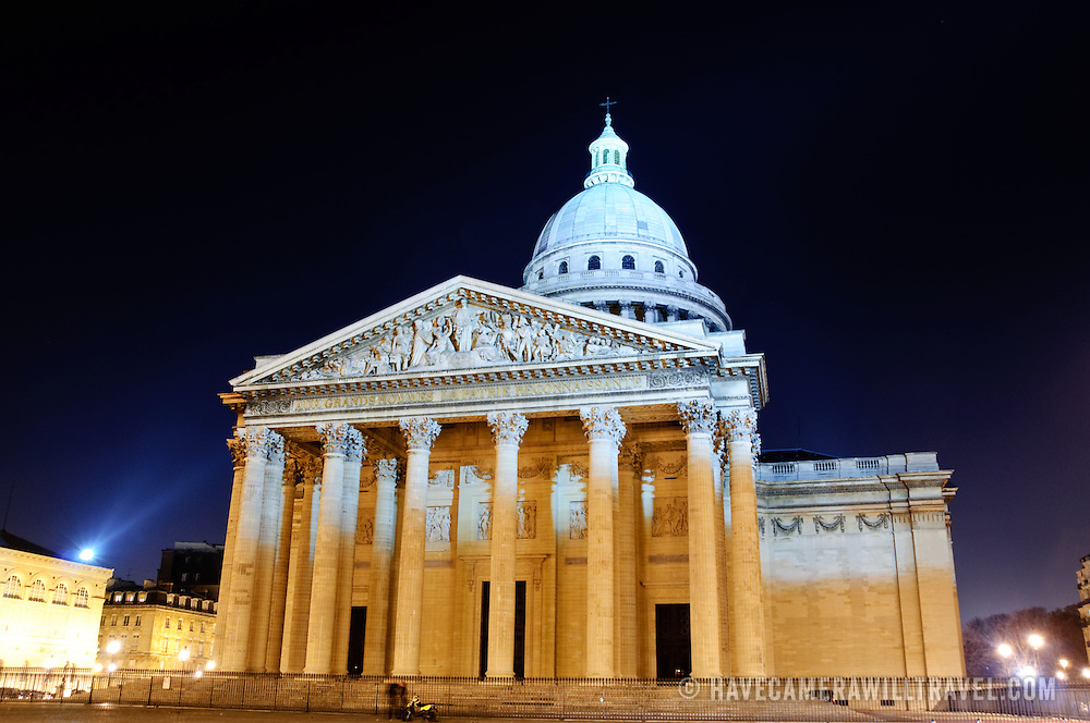 Pantheon in Paris at night in the 5th
