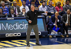 Feb 12, 2020; Morgantown, West Virginia, USA; Kansas Jayhawks head coach Bill Self yells from the sidelines during the first half against the West Virginia Mountaineers at WVU Coliseum. Mandatory Credit: Ben Queen-USA TODAY Sports