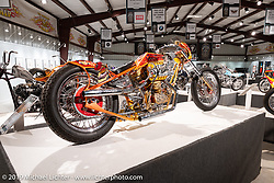 Dave Perewitz' The Sting custom 1964 Harley-Davidson Survivor custom Sportster in the What's the Skinny Exhibition (2019 iteration of the Motorcycles as Art annual series) at the Sturgis Buffalo Chip during the Sturgis Black Hills Motorcycle Rally. SD, USA. Friday, August 9, 2019. Photography ©2019 Michael Lichter.