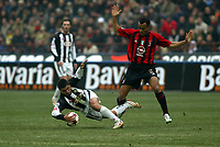 Milano 16-01-2005<br />Campionato  Serie A Tim 2004-2005<br />Milan Udinese<br />nella  foto David Pizarro Udinese (L), Cafù Marcos Milan (R)<br />Foto Snapshot / Graffiti