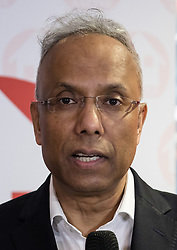 © Licensed to London News Pictures. 13/04/2018. London, UK. LUTFUR RAHMAN, former Mayor of Tower Hamlets speaks in support at the Aspire Party Mayoral candidate manifesto launch in Whitechapel, east London on 13th April 2018. The Aspire Party candidate for Tower Hamlets Mayor, Ohid Ahmed is the former deputy to former Mayor of Tower Hamlets, Lutfur Rahman. The Independent Aspire Party has been registered with the Electoral Commission and is running 45 candidates in the upcoming local elections in Tower Hamlets. Photo credit: Vickie Flores/LNP