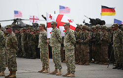 August 1, 2018 - Tbilisi, Georgia - Soldiers take part in the multinational military drill named ''Noble Partner 2018'' at Vaziani base near Tbilisi, Georgia, Aug. 1, 2018. The 13-nation military exercise ''Noble Partner 2018'' kicked off in Georgia's Vaziani military base on Wednesday with over 3,000 soldiers taking part, the Georgian Defense Ministry said. Armenia, Azerbaijan, Britain, Estonia, France, Georgia, Germany, Lithuania, Norway, Poland, Turkey, Ukraine and the United States are participating in the drills which will end on Aug. 16. rh) (Credit Image: © Kulumbegashvili Tamuna/Xinhua via ZUMA Wire)
