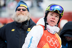 February 9, 2018 - Pyeongchang, South Korea - 180209 Walter Wallberg of Sweden in the finishing area after competing in the MenÃ•s Moguls Qualification, (in the background, Lars Fahlen, coach of Sweden's Moguls team) during the 2018 Winter Olympics on February 9, 2018 in Pyeongchang..Photo: Petter Arvidson / BILDBYRN / kod PA / 91956 (Credit Image: © Petter Arvidson/Bildbyran via ZUMA Press)