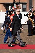Aankomst van Thom de Graaf tijdens Prinsjesdag bij de Grote kerk. De koning zal  de troonrede voorlezen in de Grote Kerk aan leden van de Eerste en Tweede Kamer.