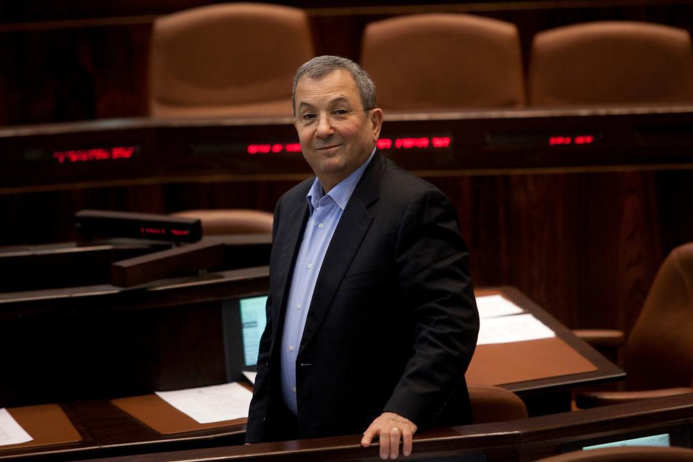 Israel's Defense Minister Ehud Barak attends a session of the Knesset, Israel's parliament in Jerusalem, on December 5, 2011.