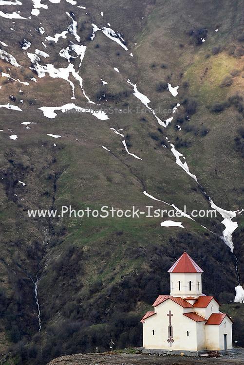 Monastery near Gudauri, Georgia along the the Georgian Military Highway near the Cross Pass, at an elevation of 2,200 meters