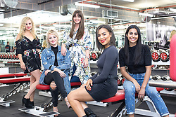 © Licensed to London News Pictures . 31/07/2017 . Manchester , UK . Coronation Street actors Tina O'Brien , Katie McGlynn , Brooke Vincent , Tisha Merry and Sair Khan at the opening event for Up Gym in Spinningfields . Photo credit : Joel Goodman/LNP