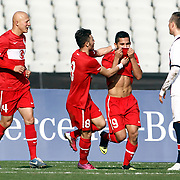 Turkey U21's Bertul Kocabas (2ndR) celebrate his goal during their friendly soccer match Turkey U21 betwen Norway U21 at Ataturk Olympic stadium in Istanbul February 06, 2013. Photo by Aykut AKICI/TURKPIX