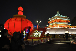 December 31, 2017 - Xi'An, Xi'an, China - Xi'an, CHINA-31st December 2017:(EDITORIAL USE ONLY. CHINA OUT) ..Lighting show marks New Year in Xi'an, northwest China's Shaanxi Province, December 31st, 2017. (Credit Image: © SIPA Asia via ZUMA Wire)