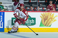 REGINA, SK - MAY 22: Samuel Asselin #28 of Acadie-Bathurst Titan skates with the puck against the Hamilton Bulldogs at the Brandt Centre on May 22, 2018 in Regina, Canada. (Photo by Marissa Baecker/CHL Images)