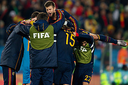 Players of Spain celebrate after the  2010 FIFA World Cup South Africa Quarter Finals football match between Paraguay and Spain on July 03, 2010 at Ellis Park Stadium in Johannesburg. Spain defeated Paraguay 1-0. (Photo by Vid Ponikvar / Sportida)