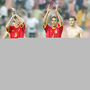 Spain's Raul applauds the fans at the end of the game