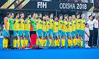 BHUBANESWAR, INDIA - line up Australia  England v Australia (1-8) for the bronze medal during the Odisha World Cup Hockey for men  in the Kalinga Stadion.   COPYRIGHT KOEN SUYK