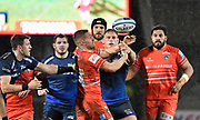 Leicester Tigers Johnny McPhillips and Sale Sharks No.8 Daniel Du Preez compete for a loose ball during a Gallagher Premiership Rugby Union match, Sale Sharks -V- Leicester Tigers, Friday, Feb. 21, 2020, in Eccles, United Kingdom. (Steve Flynn/Image of Sport via AP)