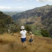 Hiking Waimea Canyon on island of Kauai.