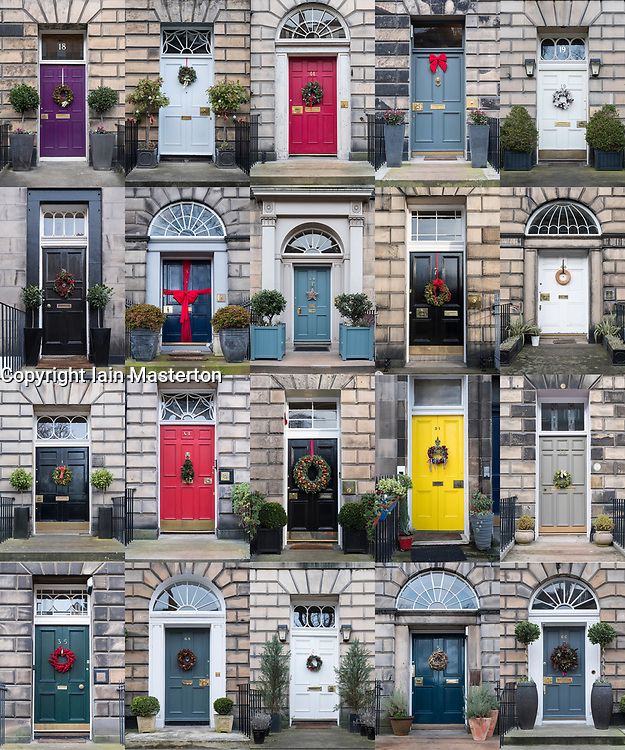 Collage of many houses with front doors decorated at Christmas in the New Town of Edinburgh , Scotland, United Kingdom
