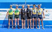 Poznan,  POLAND,  Sunday, 19/06/2016,  Men's Pair, left AUS1 Bow Spencer Turrin, Alexander Lloyd,  Centre, Gold Medalist,  NZL1 M2- Bow Eric MURREY, Hamish BOND, right, Bronze Medalist, GBR2 M2- Bow Alan Sinclair, Stewart Innes, FISA World Cup III, Malta Lake.  FISA World Cup III, Malta Lake.[Mandatory Credit; Peter SPURRIER/Intersport-images]