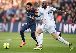 Neymar Jr of Paris Saint-Germain in action with Dimitri Foulquier and Jeremy Blayac of RC Strasbourg during the Ligue 1 match between Paris Saint Germain and RC Strasbourg at the Parc des Princes in Paris, FRANCE on February 17, 2018.Paris Saint Germain won RC Strasbourg with 5-2 (Credit Image: © Jack Chan/Chine Nouvelle/Xinhua via ZUMA Wire)