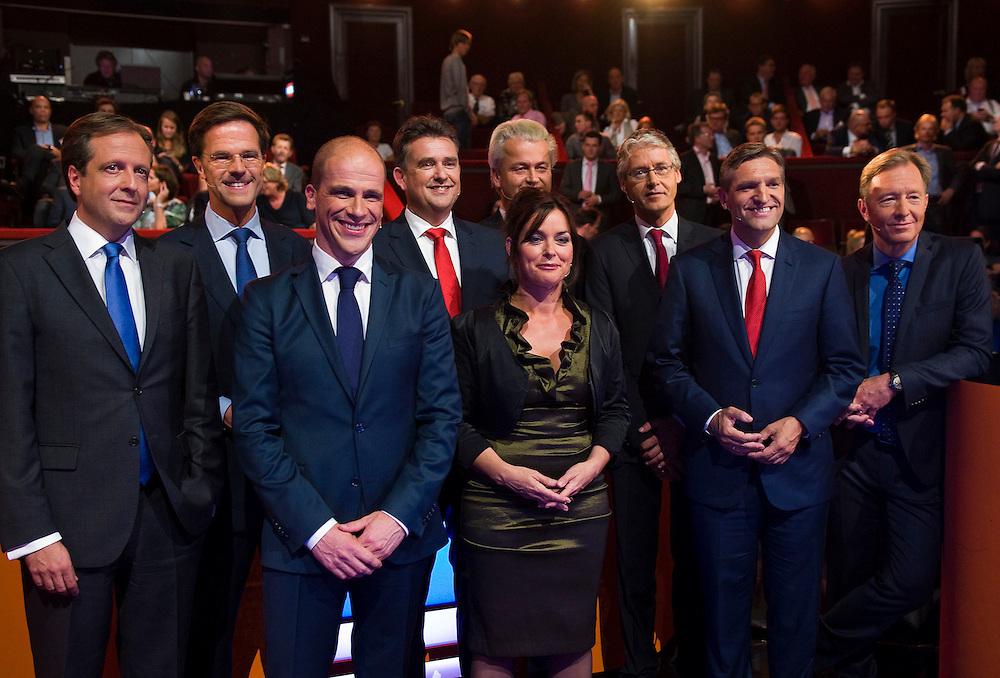 Nederland, Amsterdam,  4 sep 2012.RTL lijsttrekkersdebat in Carre..groepsfoto van de lijsttrekkers.Foto(c): Michiel Wijnbergh