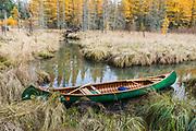 Canoe, marsh channel, October, Schoolcraft Lake, Hubbard County, Minnesota, USA