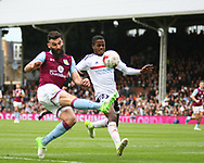 Ryan Sessegnon of Fulham and Jonathan Kodjia of Aston Villa during the Sky Bet Championship match at Craven Cottage, London<br /> Picture by Richard Brooks/Focus Images Ltd 07947656233<br /> 17/04/2017