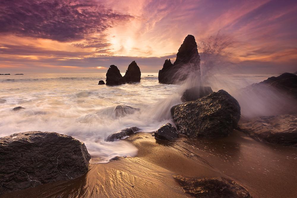 long exposure sunset at rodeo beach, fort baker near sausalito, california