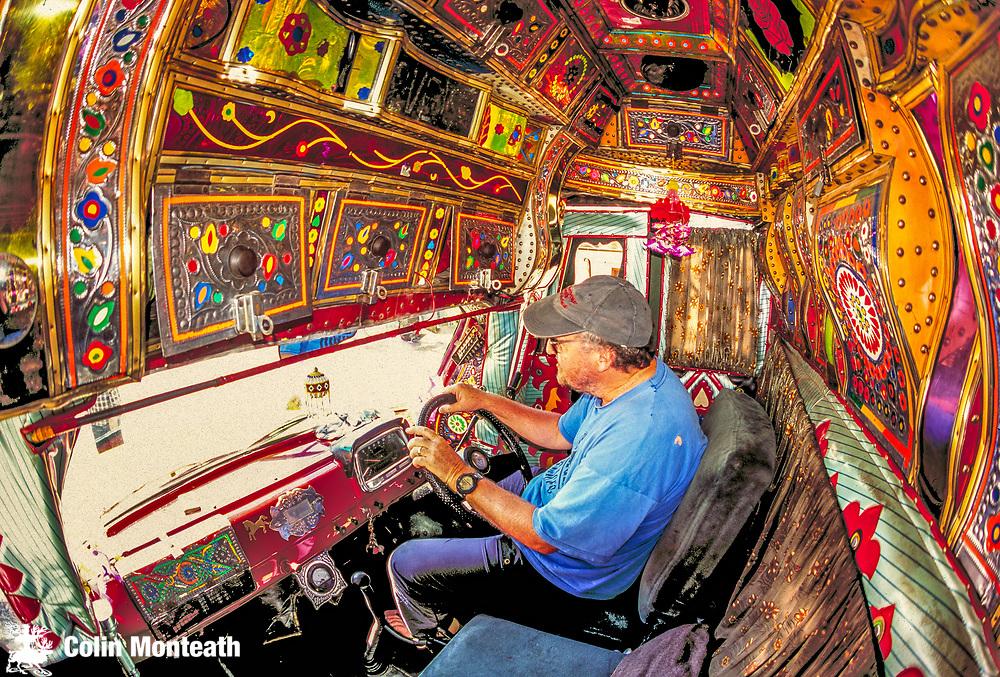 Driving Pakistani truck, en route Skardo, Karakoram mtns, Pakistan