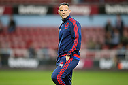 Ryan Giggs, the Manchester United Coach looks on during pre match warm up. The Emirates FA cup, 6th round replay match, West Ham Utd v Manchester Utd at the Boleyn Ground, Upton Park  in London on Wednesday 13th April 2016.<br /> pic by John Patrick Fletcher, Andrew Orchard sports photography.
