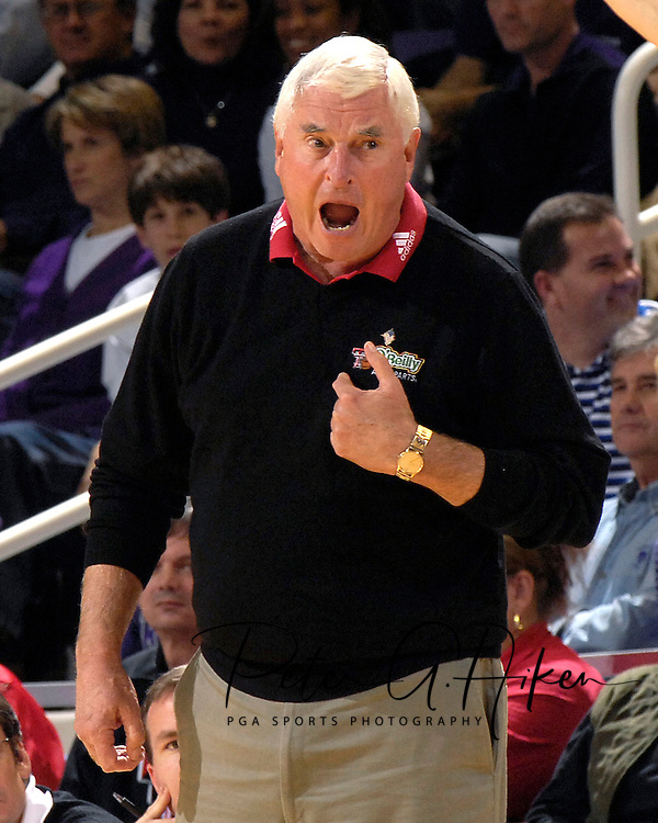 Texas Tech head coach Bobby Knight reacts to a call against the Red Raiders in the first half against Kansas State at Bramlage Coliseum in Manhattan, Kansas, January 8, 2007.  Texas Tech defeated K-State 62-52.