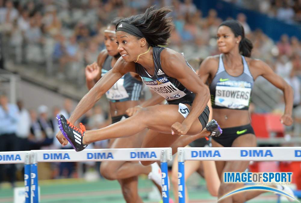 Kendra Harrison (USA) wins the women's 100m hurdles in 12.44 in the Meeting de Paris during a IAAF Diamond League track and field meet at Stade de France in Saint-Denis, France on Saturday, Aug. 28, 2016. Photo by Jiro Mochizuki