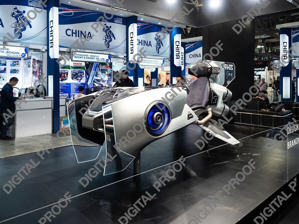 RHO Fieramilano, Milan Italy - November 07, 2019 EICMA Expo. 2049 Nonzero; a concept design of a futuristic transport vehicle in exhibition at EICMA 2019