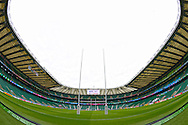 a General view inside Twickenham Stadium as preparations are underway before k/o. Rugby World Cup 2015 quarter final match, South Africa v Wales at Twickenham Stadium in London, England  on Saturday 17th October 2015.<br /> pic by  John Patrick Fletcher, Andrew Orchard sports photography.