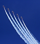 Five of the six US Navy Blue Angels practice over Lake Washington Friday. (Greg Gilbert / The Seattle Times, 2015)