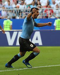 SAMARA, June 25, 2018  Luis Suarez of Uruguay celebrates scoring during the 2018 FIFA World Cup Group A match between Uruguay and Russia in Samara, Russia, June 25, 2018. (Credit Image: © Bai Xueqi/Xinhua via ZUMA Wire)
