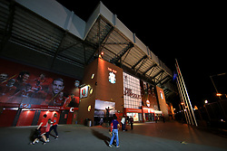 23rd August 2017 - UEFA Champions League - Play-Off (2nd Leg) - Liverpool v 1899 Hoffenheim - A general view (GV) of The Kop at Anfield lit up at night - Photo: Simon Stacpoole / Offside.