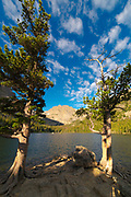 Morning view of The Loch with Taylor Peak in the background, Rocky Mountain National Park, Colorado.