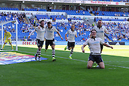 Matt Smith of Fulham (on ground) celebrates after he scores his teams 1st goal. Skybet football league championship match, Cardiff city v Fulham at the Cardiff city stadium in Cardiff, South Wales on Saturday 8th August  2015.<br /> pic by Andrew Orchard, Andrew Orchard sports photography.